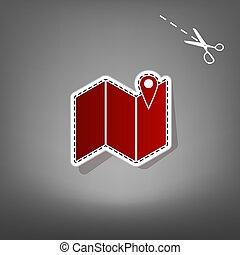 Pin on the map. Vector. Red icon with for applique from paper with shadow on gray background with scissors.