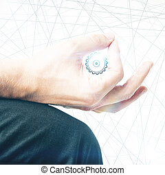 Engineering concept - Creative image of male hand drawing...