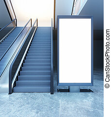 Escalator and ad stand - Escalator and empty ad stand. Mock...