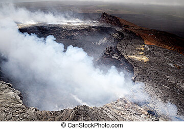 Halemaumau crater on Kilauea - Aerial shot of the Halemaumau...