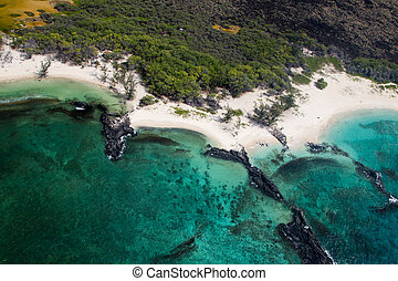 Makalawena Beach, Big Island, Hawaii - Aerial view of...