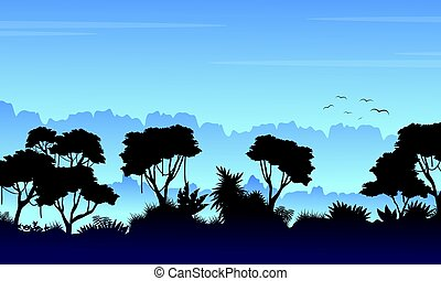 Collection stock rain forest landscape vector art