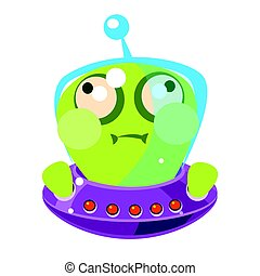 Inflated green alien in a flying saucer, cute cartoon...