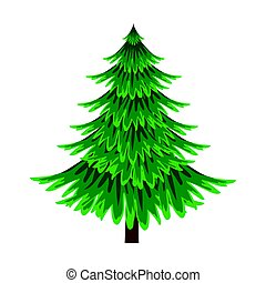 Spruce, evergreen tree, element of a landscape. Colorful...