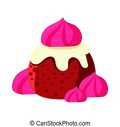 Chocolate cupcake decorated with pink marshmallows. Colorful cartoon vector Illustration