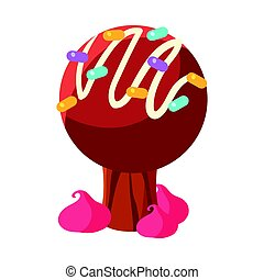 Chocolate cake tree. Colorful cartoon vector Illustration