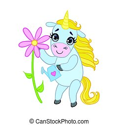 Cartoon light blue unicorn with flower. Colorful vector character