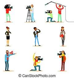 News Program Crew Of Professional Cameramen And Journalists...