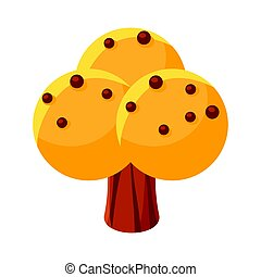 Yellow sweet candy tree. Colorful cartoon vector Illustration