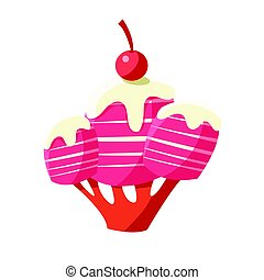 Pink sweet candy tree. Colorful cartoon vector Illustration