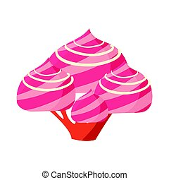 Tree made of pink marshmallow. Colorful cartoon vector Illustration