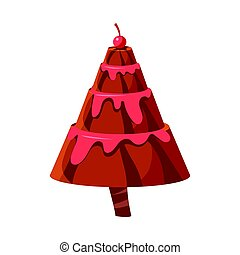 Chocolate cake fir tree. Colorful cartoon vector Illustration