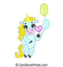 Cartoon light blue lovely unicorn standing and holding colorful balloons. Fairy tale vector character