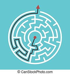 Circular maze with solution - Circular maze with way from...