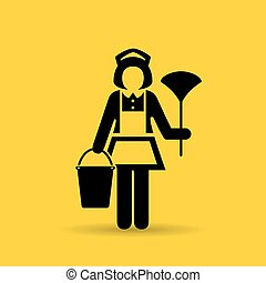 Maid woman icon - Maid woman vector icon