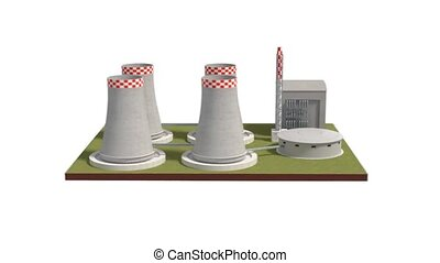 Power plant 3d illustration rotating view - nuclear power...