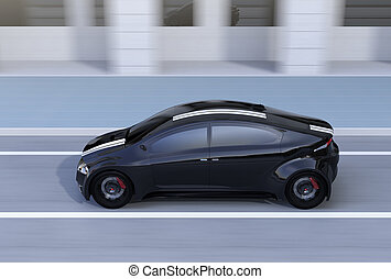Side view of black sports car driving on the street. 3D...