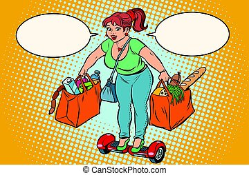 Young woman with grocery shopping on gyrometer