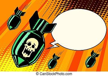 Mass bombing, shouting no skeleton. Comic book illustration...