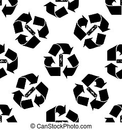 Battery with recycle symbol - renewable energy concept icon...