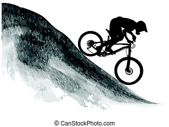 Silhouette of a cyclist riding a mountain bike - Silhouette...