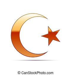 Gold Islam symbol icon on white background. Vector...