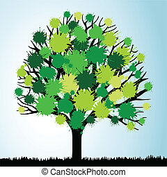Tree with green foliage from blots. A vector illustration