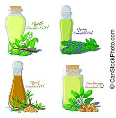 Illustration of essential oils. - A set of essential oils:...