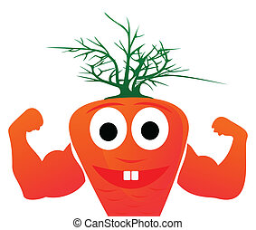 Healthy orange carrots show force. A vector illustration
