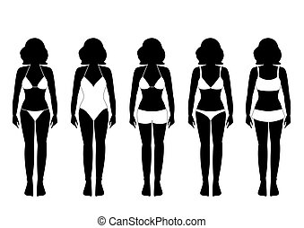 Collection of silhouettes of girls in bathing suits ,Vector illustrations