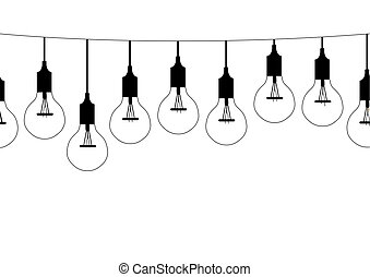 Seamless pattern hanging light bulbs,Vector illustrations