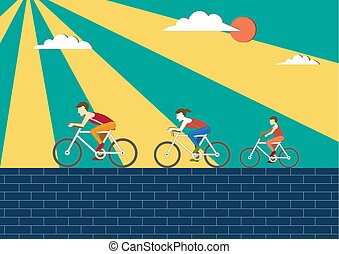 Mom,Dad and kids ride bicycle,Sport family,Vector illustrations