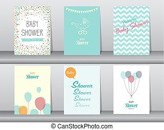 Collection of  baby shower invitation card ,Vector illustrations