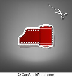 Old photo camera casset sign. Vector. Red icon with for...