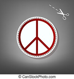Peace sign illustration. Vector. Red icon with for applique...