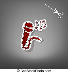 Microphone sign with music notes. Vector. Red icon with for applique from paper with shadow on gray background with scissors.