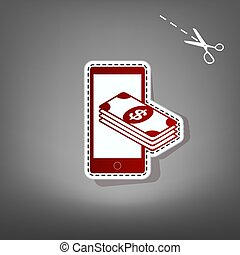 Payment, refill your mobile smart phone,. Vector. Red icon...