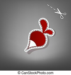 Radish simple sign. Vector. Red icon with for applique from paper with shadow on gray background with scissors.