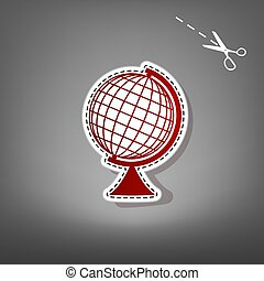 Earth Globe sign. Vector. Red icon with for applique from...