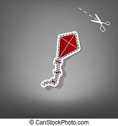Kite sign. Vector. Red icon with for applique from paper...
