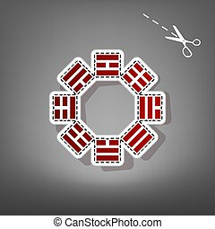 Bagua sign. Vector. Red icon with for applique from paper...