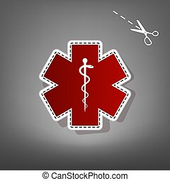 Medical symbol of the Emergency or Star of Life. Vector. Red...