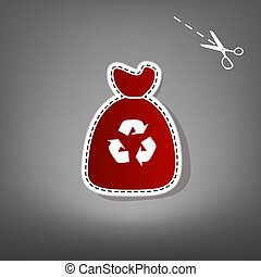 Trash bag icon. Vector. Red icon with for applique from...