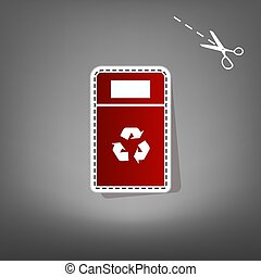 Trashcan sign illustration. Vector. Red icon with for...
