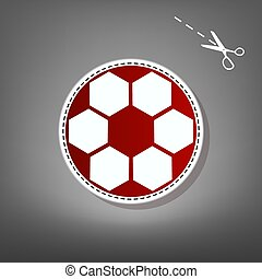 Soccer ball sign. Vector. Red icon with for applique from...