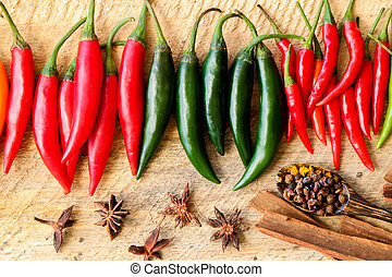 Group of colorful chili put on wooden isolated on white...