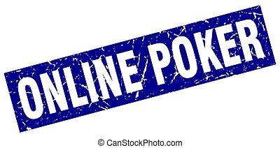 square grunge blue online poker stamp