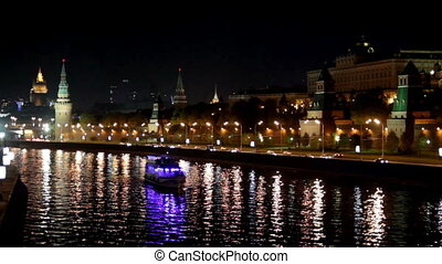 Moscow Kremlin river night landscape with ships