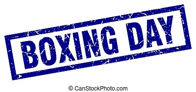 square grunge blue boxing day stamp