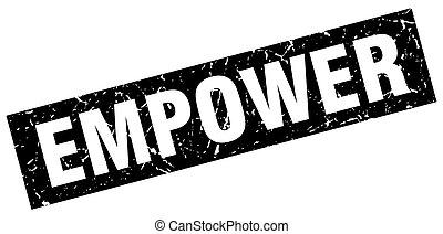 square grunge black empower stamp